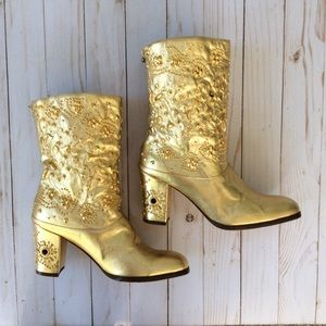 Fantasy Collection Metallic Gold Boots Size 8.5